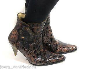 Leder-Vintage-Damenstiefel-Stiefelette-Reptil-Belen-Donate-Zipper-Blumen-Gold-39