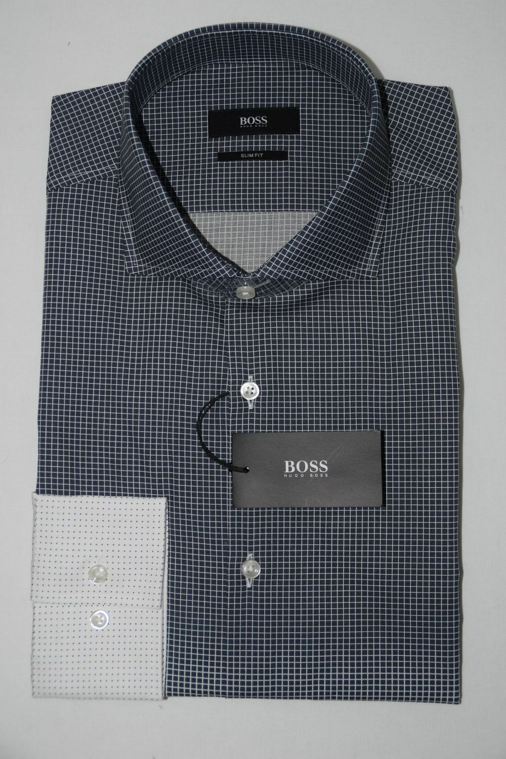 HUGO BOSS BUSINESSHEMD, Mod. Jason, Gr. 40, Slim Fit, Dark Grau
