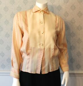 Vintage-1940s-to-1950s-Peach-and-Ivory-Silk-Button-Up-Long-Sleeve-Blouse