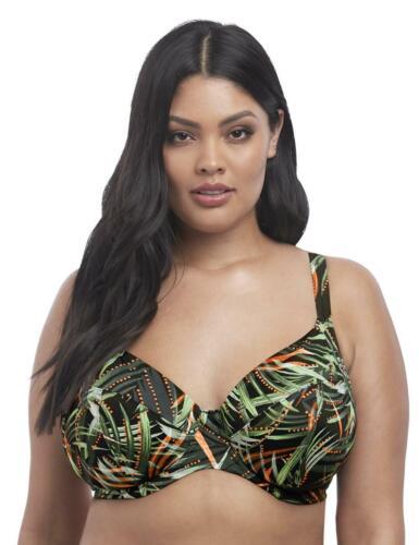Elomi Amazonia Underwired Plunge Bikini Top 7162 New Swimwear Khaki Print