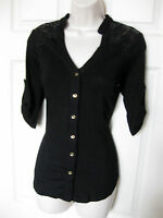 Bebe Black Sequin Allie Yoke 3/4 Sleeve Shirt Top Small S