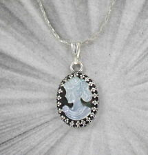 Hand Carved Shell Cameo Pendant in Sterling Silver Setting