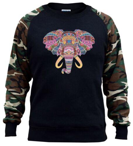 Men/'s Mosaic Tribal Elephant Head Camo Raglan Sweatshirt Aztec Animal Wildlife
