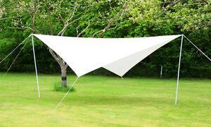 Portable Ivory Sun Shade Sail Kit With Poles Ropes 3 6m Square