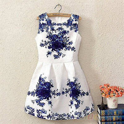 Hot Women Sleeveless Chinese White And Blue Porcelain Floral Printed Dress BC8U