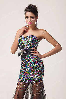 2014 Bridesmaid Stock Strapless Sequins&Tulle Ball Gown Evening Prom Party Dress