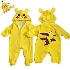 Pokemon Pikachu Newborn Outfit Boys Girls Romper Playsuit Kids Baby Grow Clothes