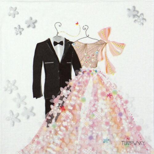 4x Paper Napkins for Decoupage Decopatch Craft Bride /& Groom