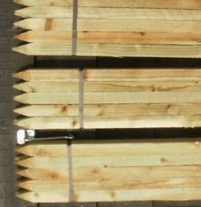 Image Is Loading 10x NEW Fence Posts Wooden Garden Stakes STRONG