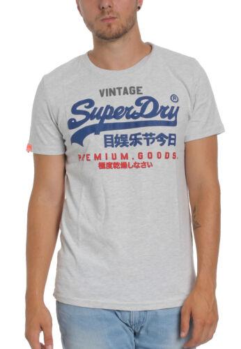 Superdry Herren T-Shirt PREMIUM GOODS TRI COLOUR TEE Ice Marl Hellgrau