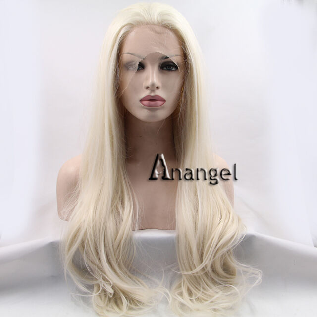 blonde Synthetic Lace Front Wigs Heat Resistant Women's Full Wig Long Curly Hair
