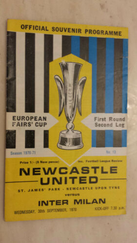 197071 FAIRS CUP NEWCASTLE UNITED v INTER MILAN 1st Round 2nd Leg
