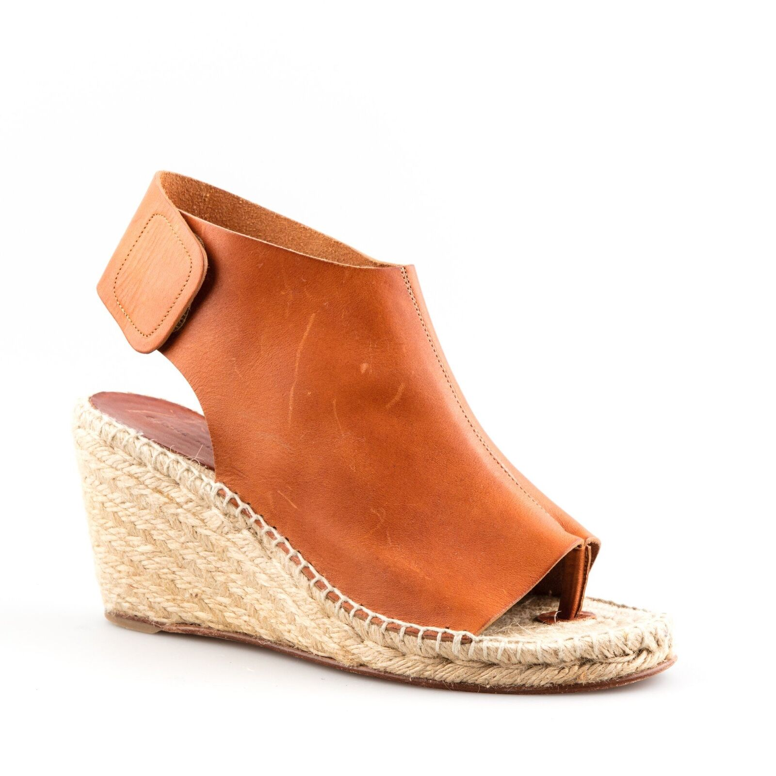 Céline Brown Leather Open Toe Espadrille Wedges - Size 39
