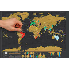 Deluxe Travel Edition Scratch Off World Map Poster Personalized Journal Log XBUS