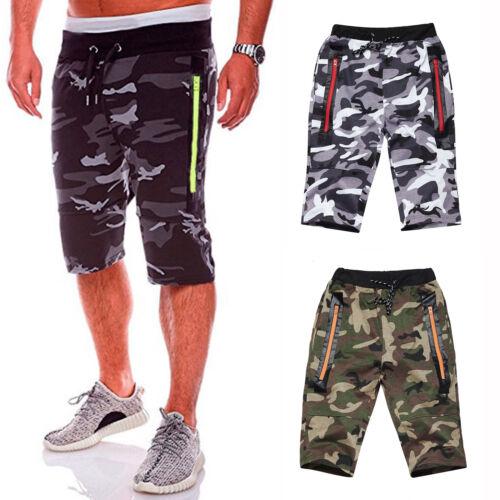 Mens Camo Combat Gym Zipper Jogger Shorts 3//4 Elasticated Short Pants Trousers