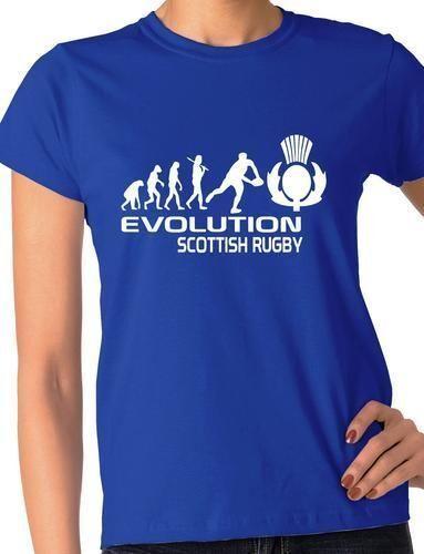 Evolution of Scottish  Rugby Ladies T-Shirt Birthday Gift  Size S-XXL