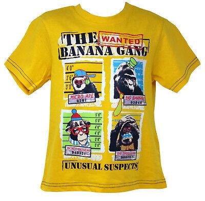 Boys T-Shirt Banana Gang Top Wanted Tee Ape Unusual Suspects Monkey 3 to 9 Years