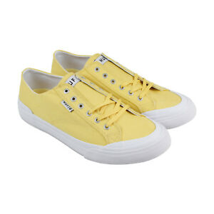HUF-Classic-Lo-Ess-Tx-Mens-Yellow-Textile-Lace-Up-Sneakers-Shoes