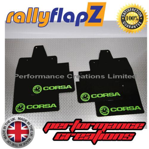 Rally mudflaps Vauxhall Corsa C las aletas de Barro Kit-Negro con el logotipo de Cal G 4 mm PVC 00-07