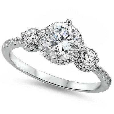 2.50CT 3 Round Cz Stones Fashion Engagement .925 Sterling Silver Ring Sizes 5-10