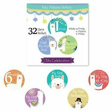 32 Pack Monthly Milestone Stickers Photo Props Babys First Year Llama Stickers