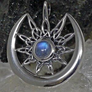 Peter Stone crescent Moon Luna Sonne Anhänger Mondsichel Mondstein 925 Silber