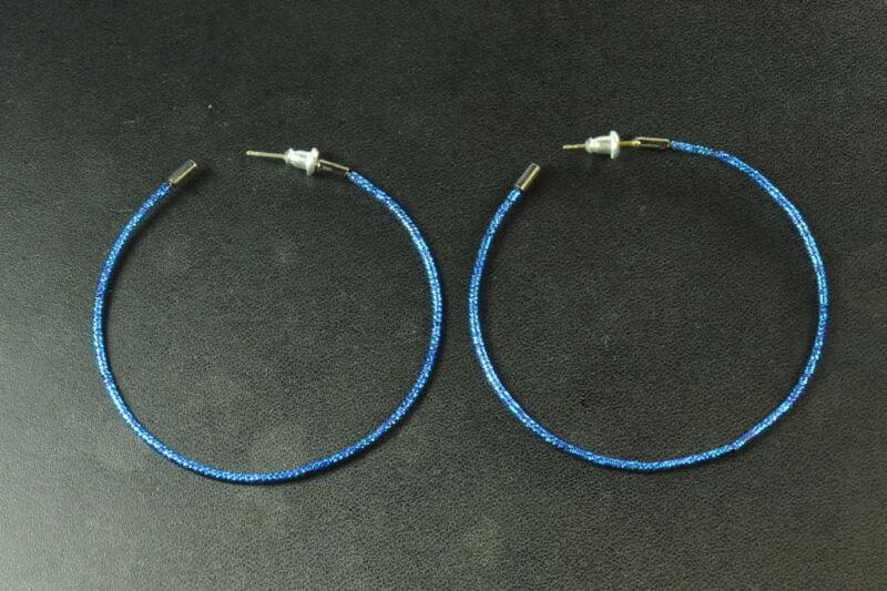 Slinky Disco Diva Bright Blue Silver Tone Sparkle Style Hoop Earrings(zx2)