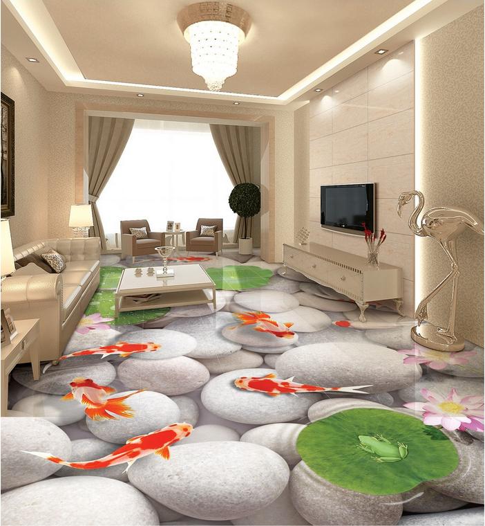 3D Stone Fish Lotus 553 Floor WallPaper Murals Wall Print Decal AJ WALLPAPER US