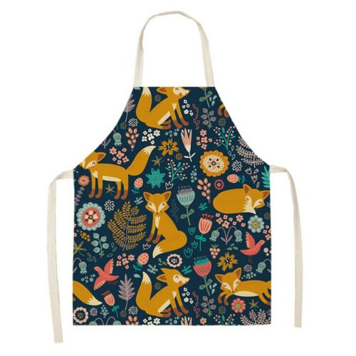Waterproof Women Fox Nordic Cotton Linen Apron Kitchen Cooking Bib Aprons