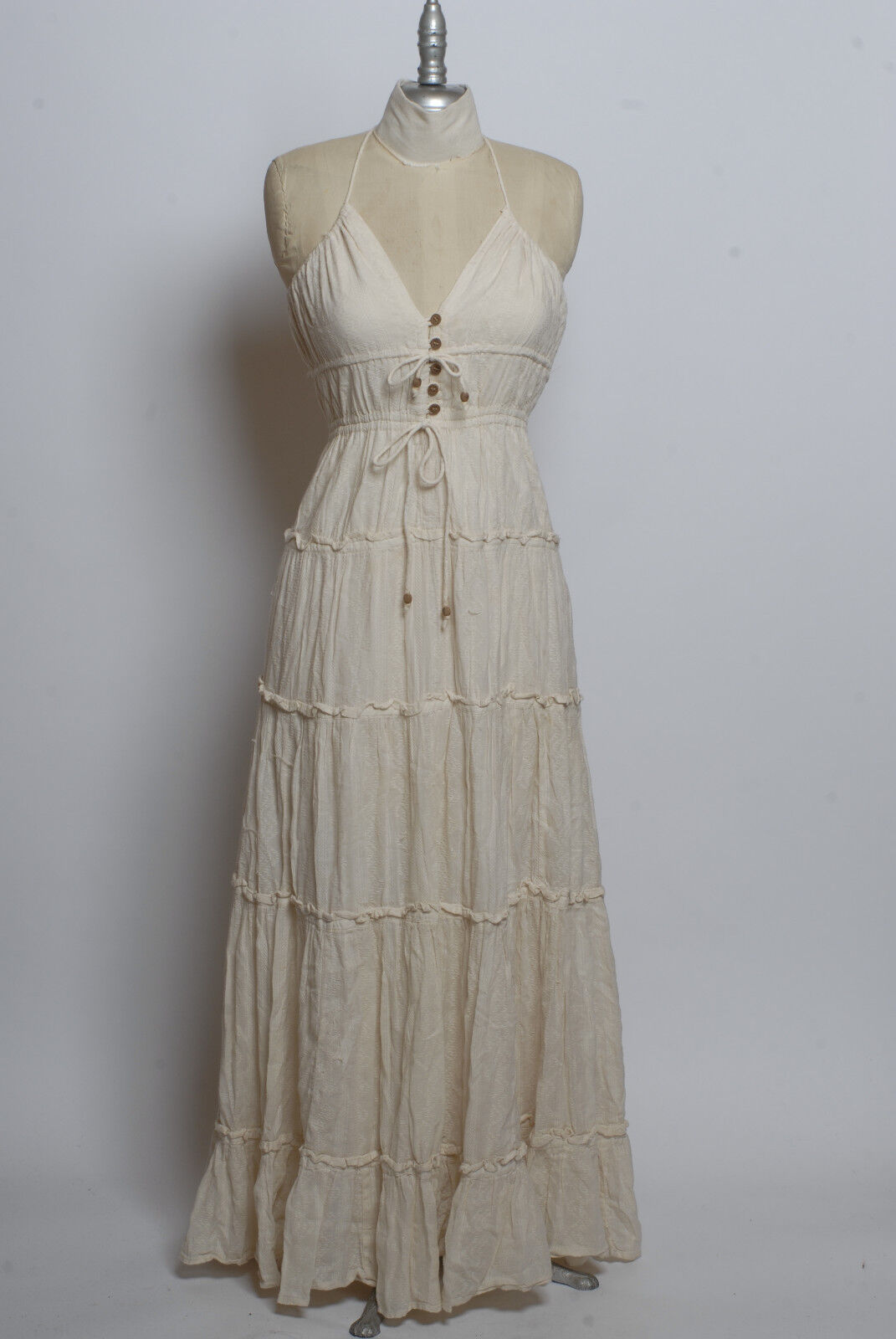French Connection natural white cotton embroidered pattern sleeveless maxi dress