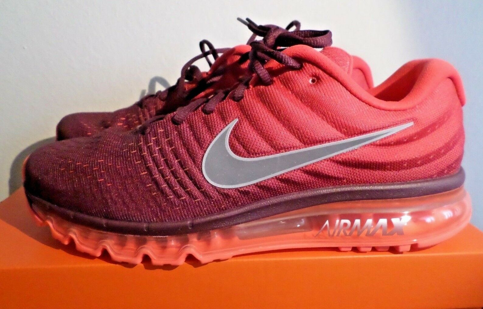 NIKE AIR MAX 2017 Men's Running shoes 849559 601 Maroon  Gym Red 13 14 New  190