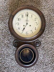 Vintage Wuersch Fall River Mass Figure Eight Case Wall Chime Clock