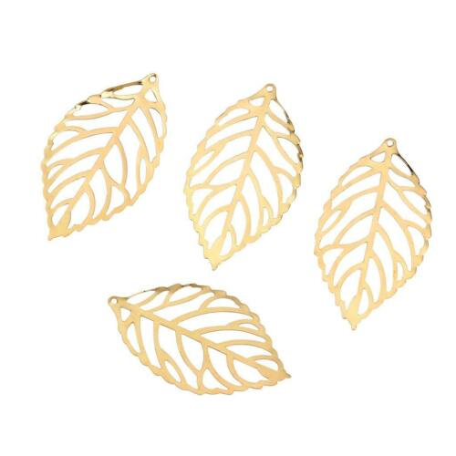 100 Pcs Filigree Leaves Metal Slice for Making Jewelry Craft Pick your Color