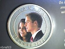 2011 CANADA 25 cent Coloured Coin - William and Kate Wedding Celebration: sealed