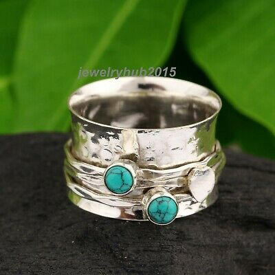 Pearl /& Turquoise Ring Solid 925 Sterling Silver Spinner Ring Handmade Ring Size