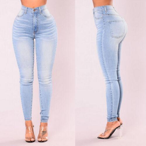 Pants Waist Jeans Casual Ladies Fashion Jogger Women's Drawstring Denim Elastic q6w8POxI
