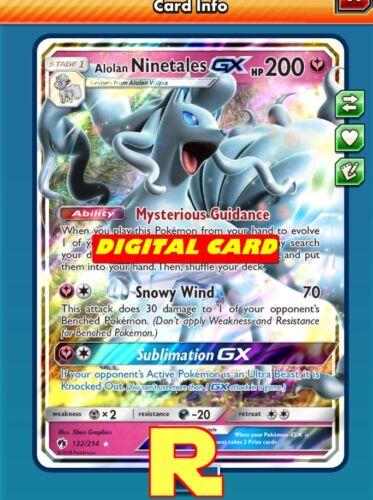 DIGITAL ptcgo in Game Card Pokemon TCG Online Alolan Ninetales GX Regular