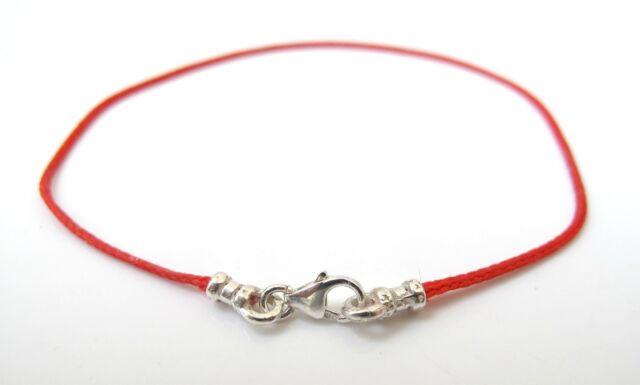 Genuine Red Silk String With Silver 925 Lucky Hamsa Kabbalah Protection Bracelet