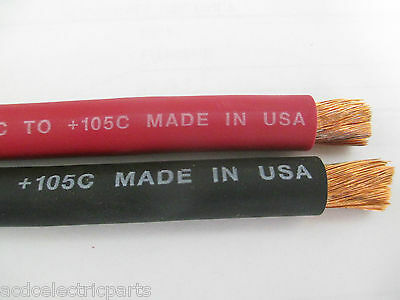 40' WELDING CABLE EXCELENE 4 AWG GAUGE 20 RED AND 20 BLACK MADE IN USA BATTERY