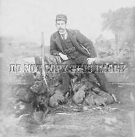 ANTIQUE HUNTING REPRO 8 x 10 PHOTOGRAPH HUNTER HAMMERGUN LITTER RED IRISH SETTER