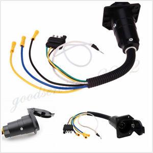 Car SUV Trailer Wiring Adapter Plug 4Pin Flat To 7Pin Round Towbar Wiring Trailer Socket Car on fuel pump wiring, house socket wiring, cigarette lighter wiring, generator socket wiring, accessories socket wiring, car socket wiring,