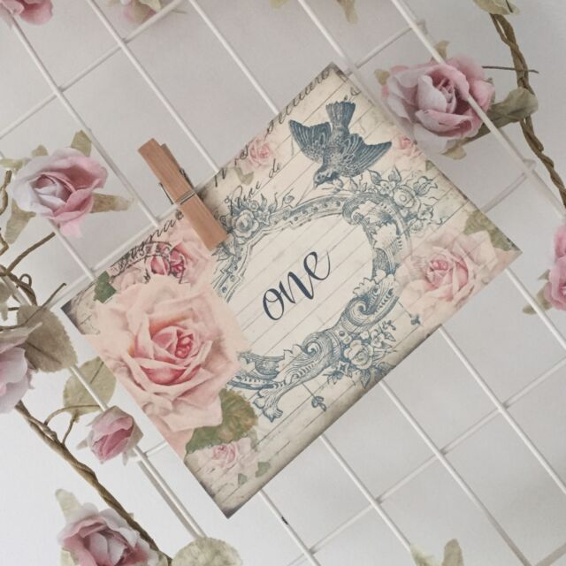 Vintage Style Wedding Table Number Cards Shabby Chic Postcard Rose