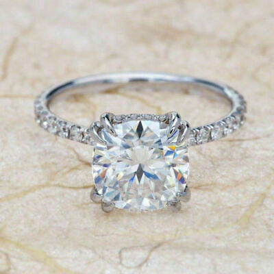 Certified 2.60ct White Cushion Diamond Engagement Ring in Solid 14K White Gold