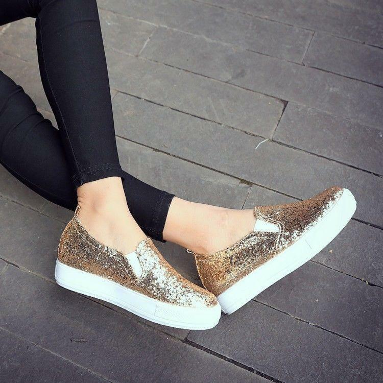 Womens Flat Glitter Slip On Casual Round Toe Breathable Leisure Sneakers shoes