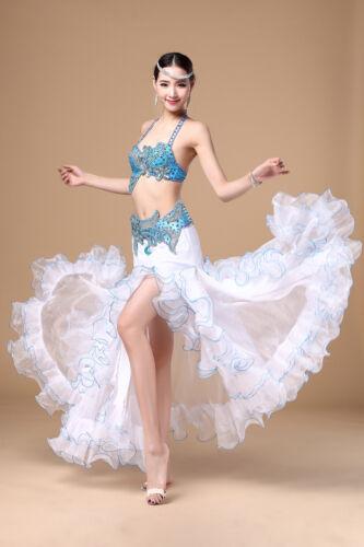 NEW Profession Belly Dance Outfit Set Bra/&Belt /&Skirt Dress Bollywood 3PCS
