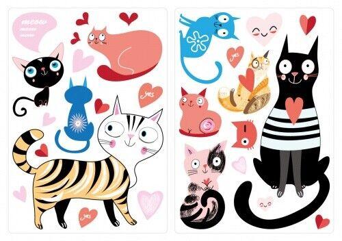 Wandtattoo Katzen in verschiedenen Farben Set Kinderzimmer Deko