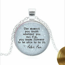 PETER PAN Quote Tibet silver Glass dome Necklace chain Pendant Wholesale