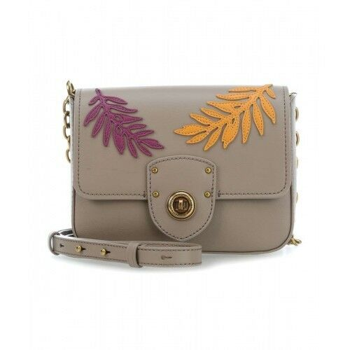43ab311f18 Ralph Lauren Millbrook Chain Crossbody Purse Taupe Eggplant Leather Brass  for sale online