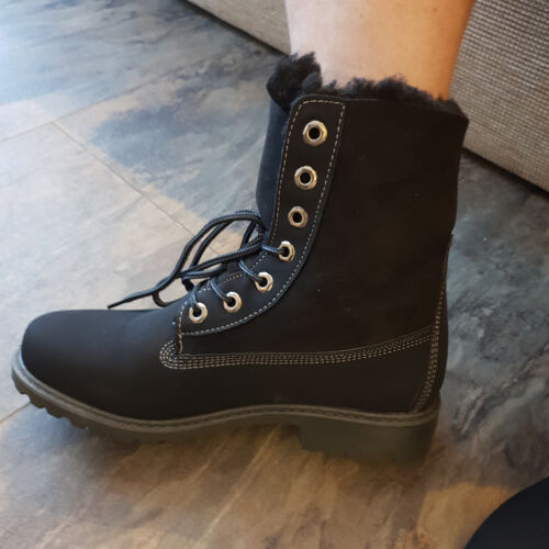 Black Hiking Rambling Ankle Boots Trainers Walking  Fur Lined Faux Ladies Womens
