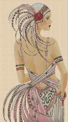 Counted Cross Stitch ART DECO  LADY in Pink Dress - COMPLETE KIT No. 1-68 KIT